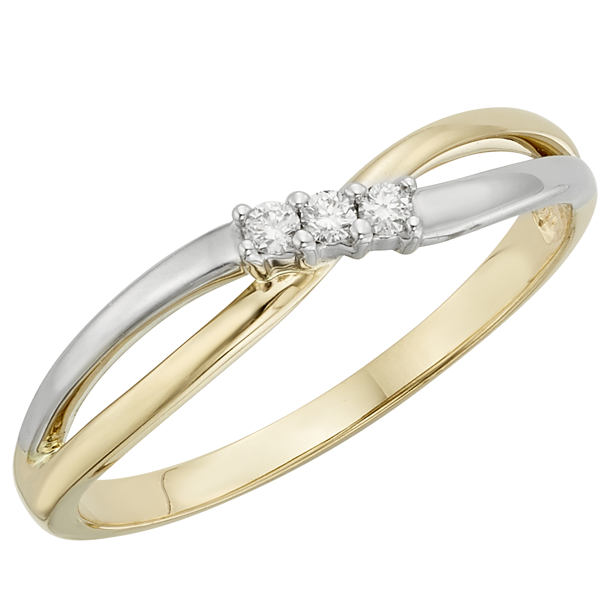 White Gold and Yellow Gold Diamond StackingRing