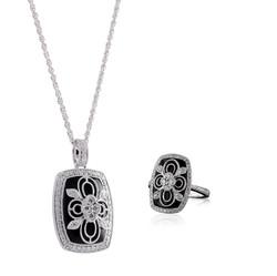 Onyx and Diamond Pendant Necklace
