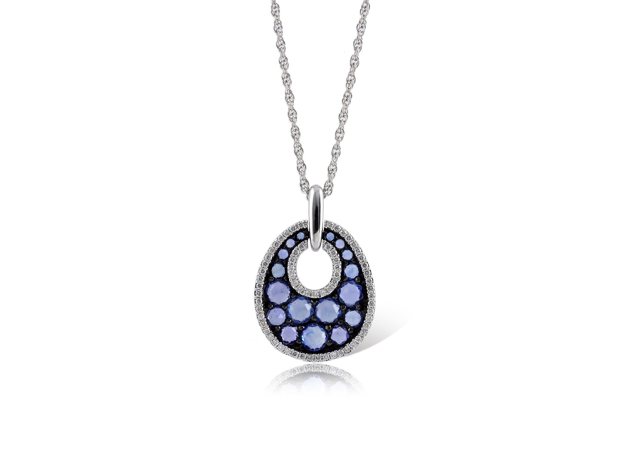 White Gold Blue Stone and Black Rhodium Pendant Necklace