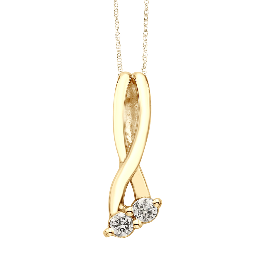 Yellow Gold Two-Stone Diamond Pendant