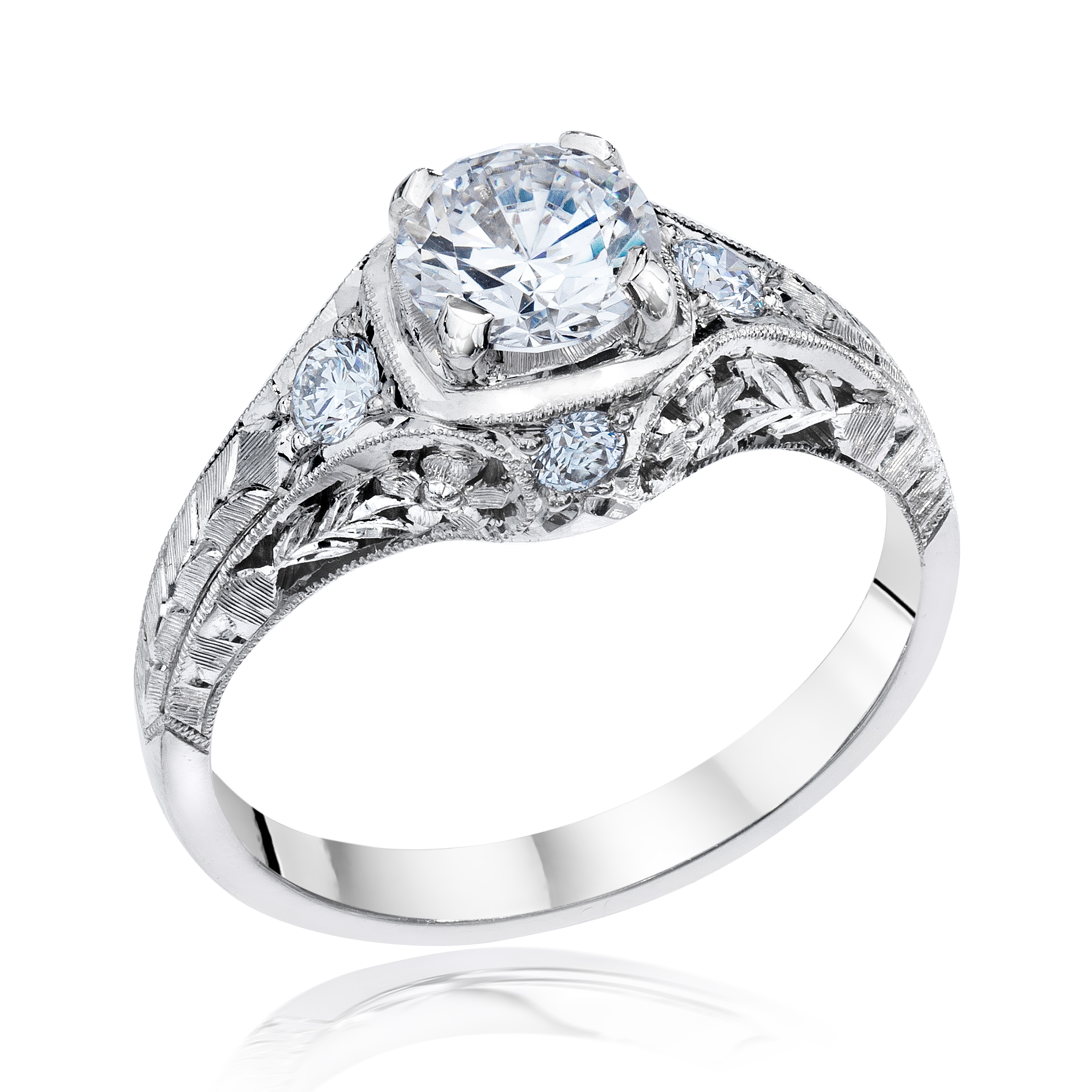White Gold Filigree Engagement Ring