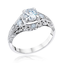 White Gold Filigree Engagement Ring