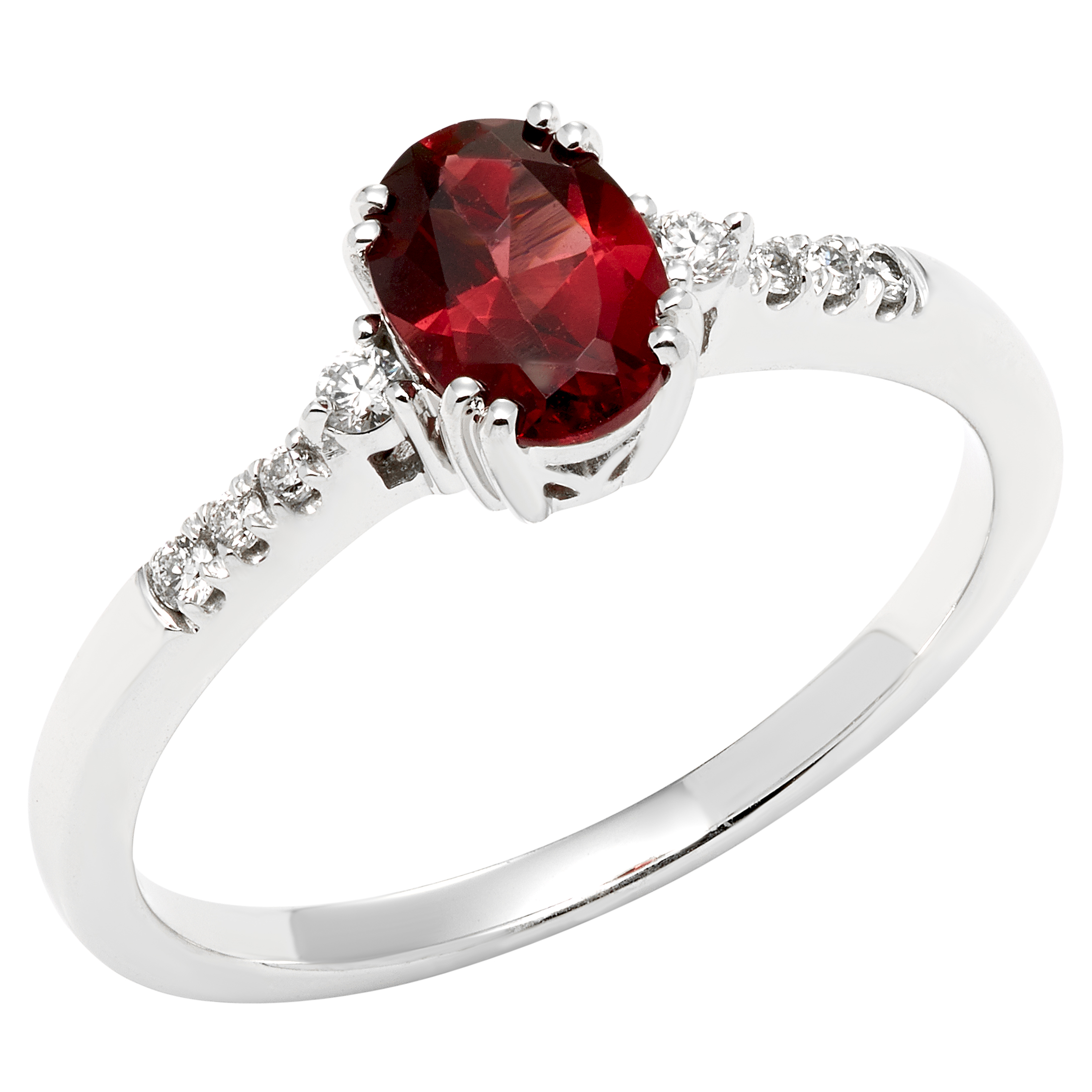 White Gold Garnet and Diamond Ring