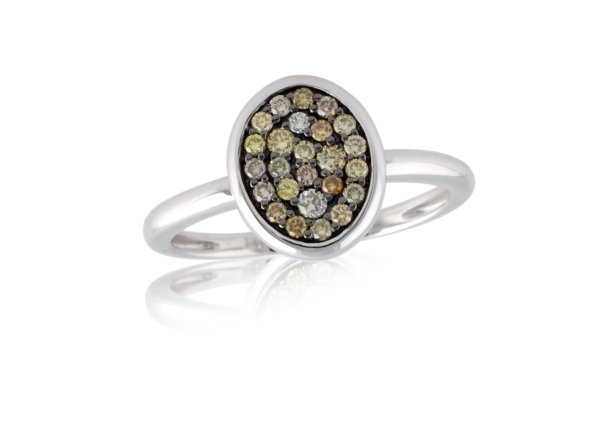 Mixed Brown Stone and Diamond Ring