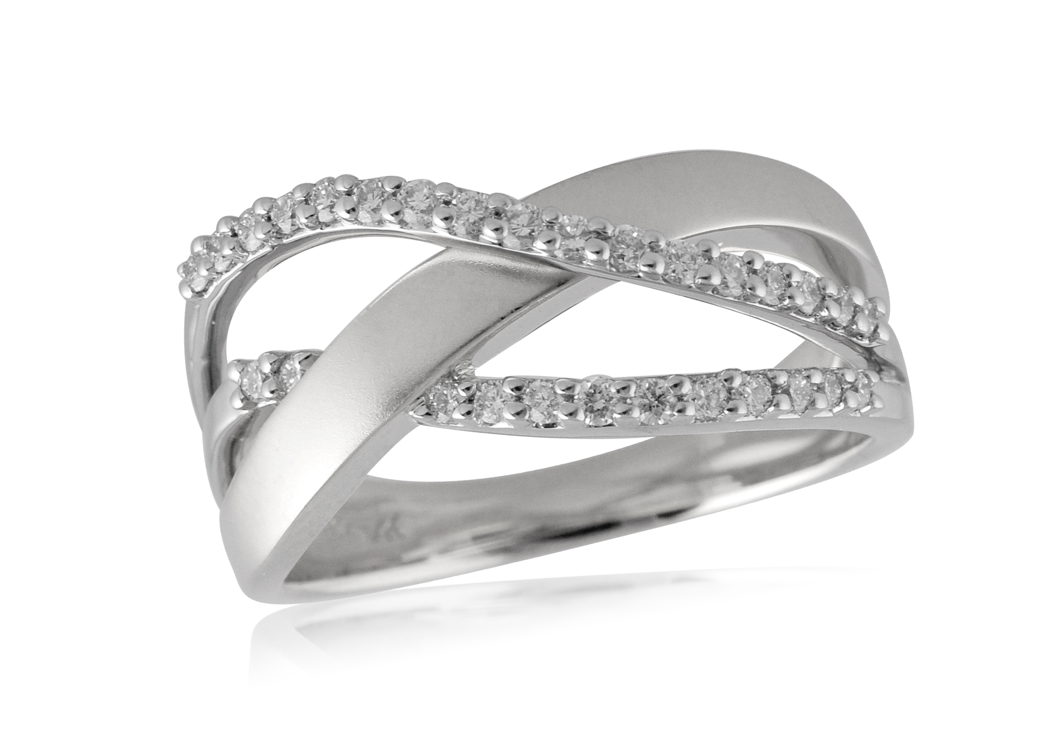 White Gold and Diamond Twist Band