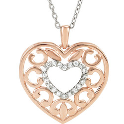 Rose Gold Heart Diamond Pendant