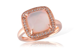 Rose Gold and Diamond Cushion Ring