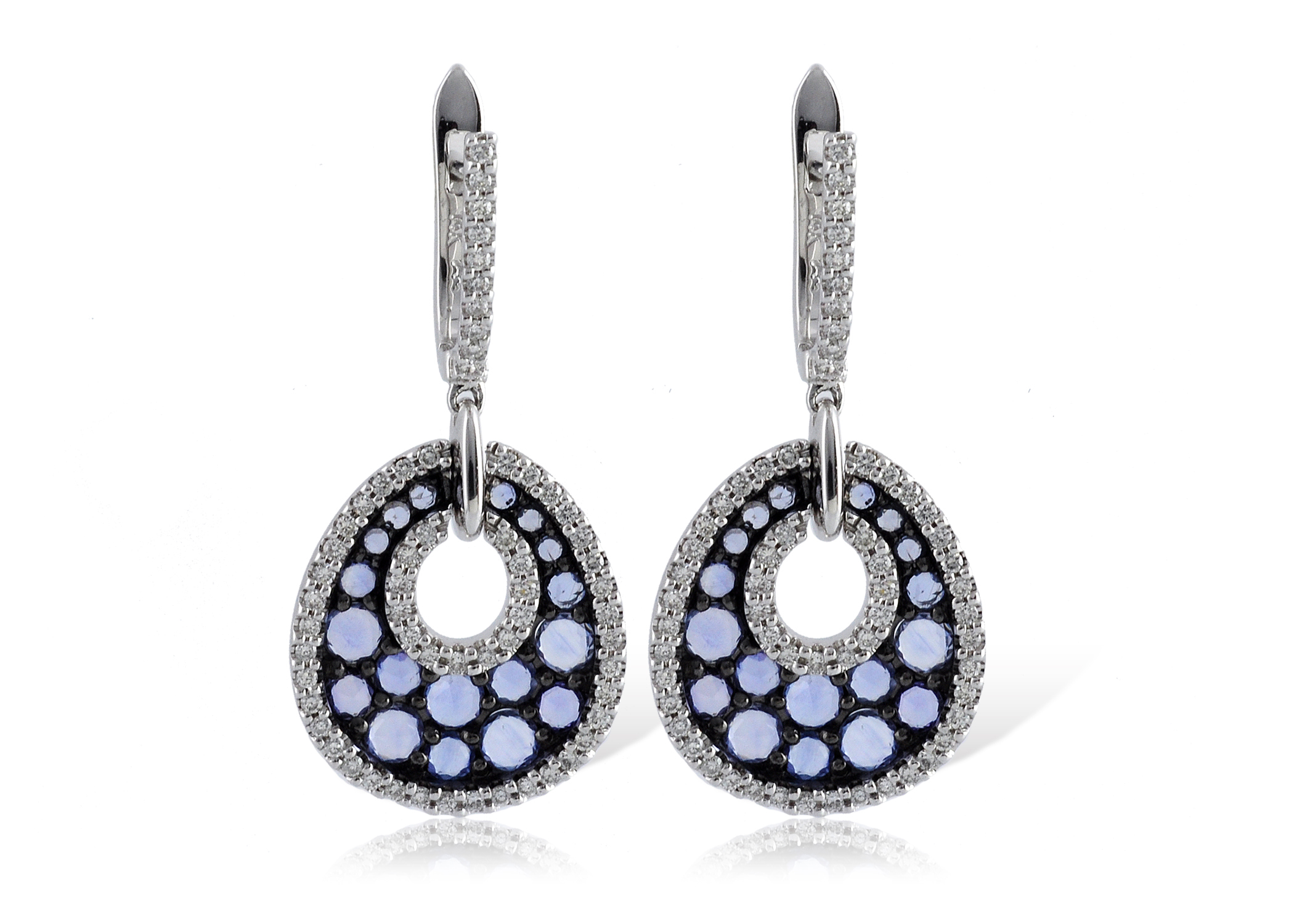 White Gold Blue Stone and Black Rhodium Earrings