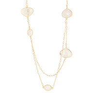 """Moonstone beaded station necklace, 36"""""""