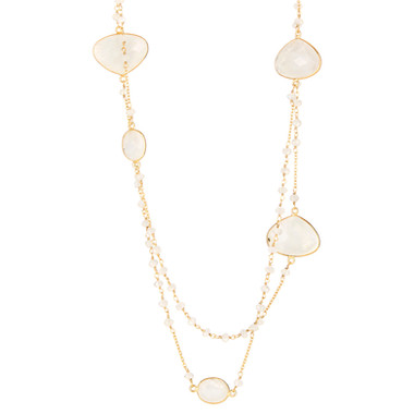 Moonstone beaded station necklace, 36""