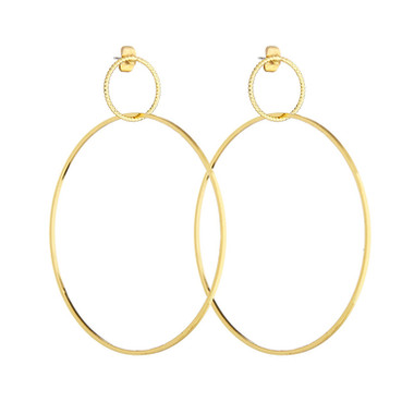 Two Circles Gold Hoops