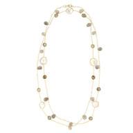 Labradorite & Pearl long necklace
