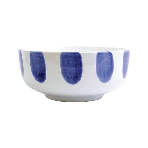 Blue Dot Large Footed Serving Bowl