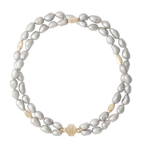 Gold Rush Gray Pearl Double Strand Necklace