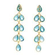 Blue Topaz Feather Drop Earrings