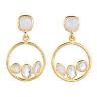 Moonstone Open Circle Earrings