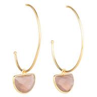 Peach Moonstone Semicircle Hoop Earrings
