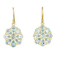 Blue Topaz Flower Earrings