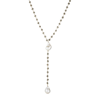 Pyrite Lariat with Pearls