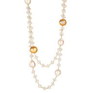"""Moonstone & Large Pearls with Gold 36"""""""