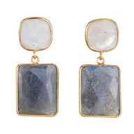 Moonstone & Labradorite Square Drops