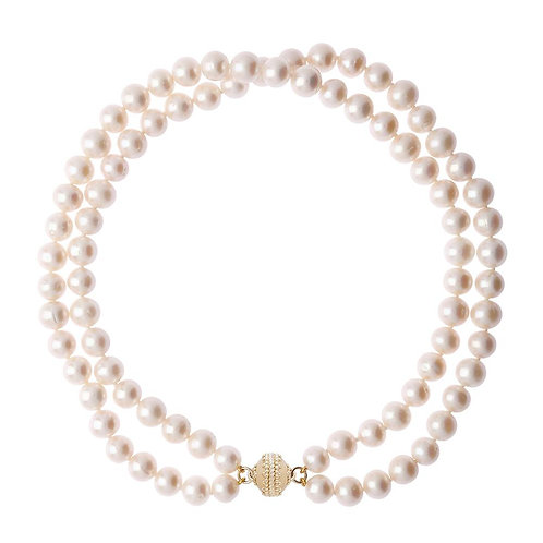 Classic Duet Pearl Double Strand Necklace