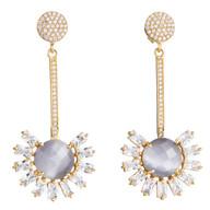 Gray Moonstone Flower Statement earrings