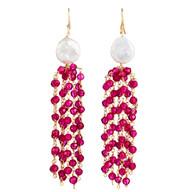Pink Quartz & Pearl Tassel Earrings