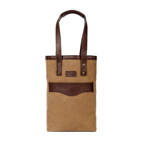 Waxed Canvas Two Bottle Tote