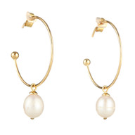 Hoop with Dangling Pearl
