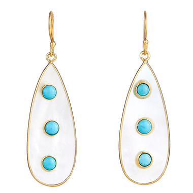 Turquoise & Mother of Pearl Polka Dot Drops