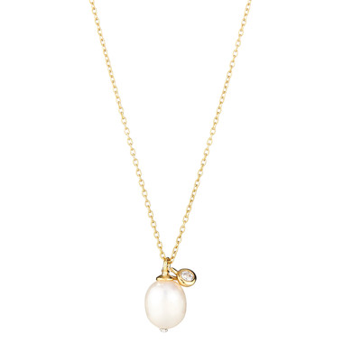 Pearl Necklace with Bezel set cz
