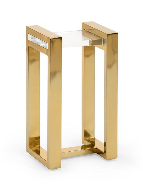 Brass & Acrylic Shelf Side Table