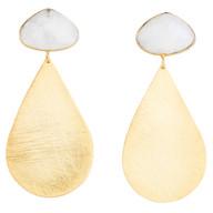 Moonstone & Large Gold Teardrops