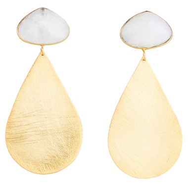Moonstone & Large Gold Teardrops