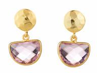 Pink Quartz Cemicircle Drop Earrings