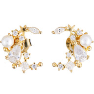 Crescent Studs with Pearl & Pavé cz