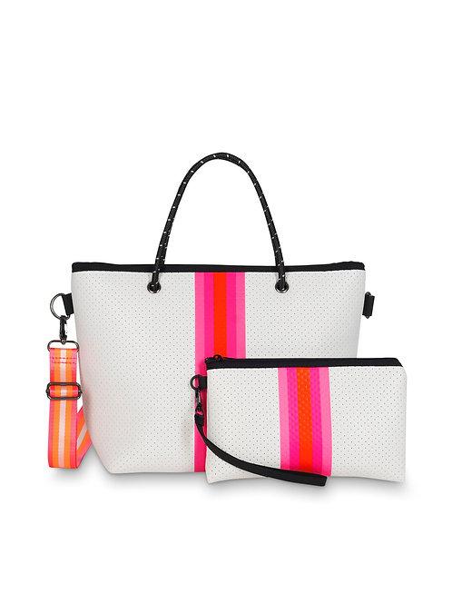 White & Pink Stripped Neoprene Handbag