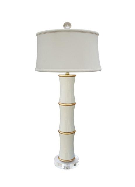 Dove White Bamboo Lamp