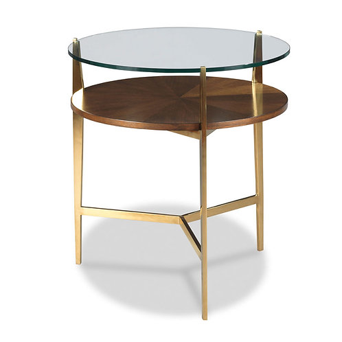 Round Wood & Glass Table