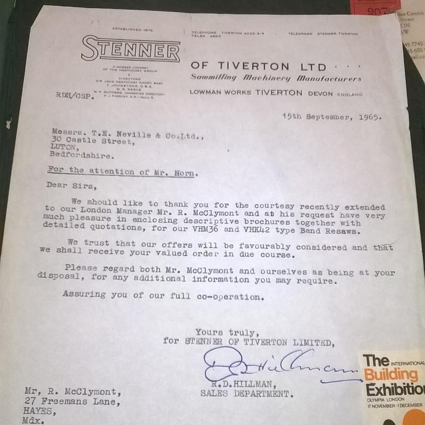Stenner Resaw Quotation Cover Letter