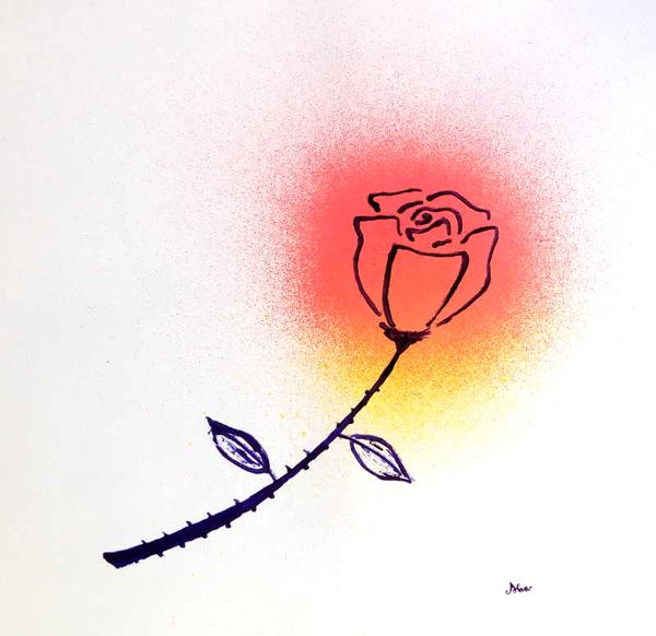 rosa de tinta y spray