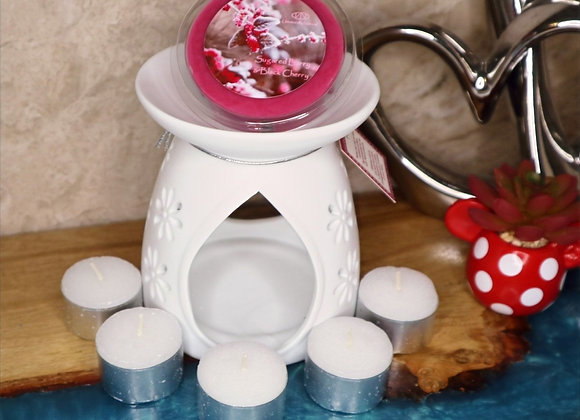 White Tealight Burner Gift Set