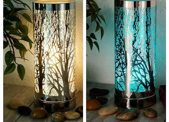 LED Colour Changing Tree Silhouette Aroma Lamp - Silver