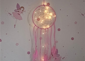 LED Feather & Pearl Dreamcatcher