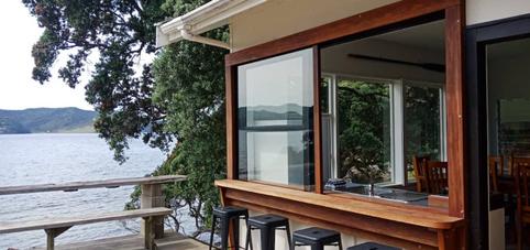 Kitchen slider window onto front deck