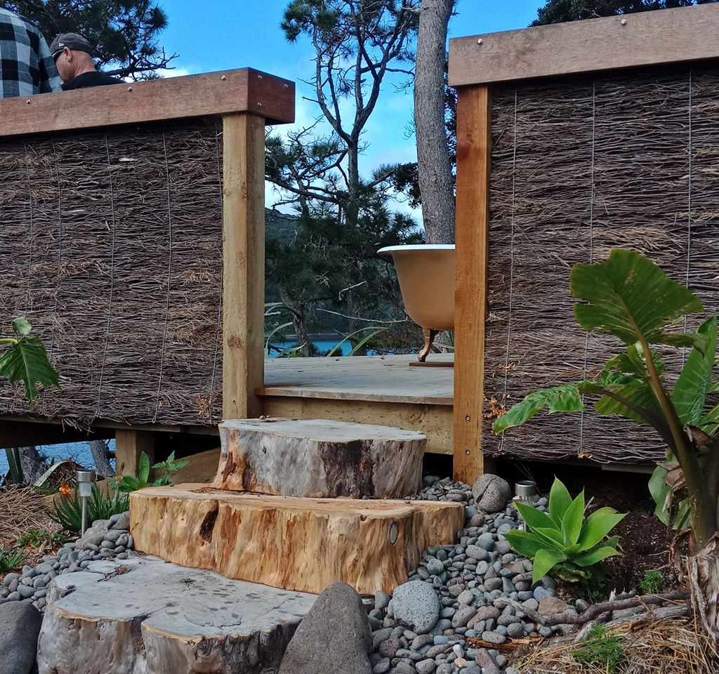 Baths at the end of a Macrocarpa Garden Path