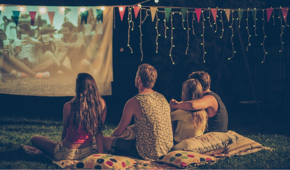 The Barn Cinema at Top of the Woods eco camping & glamping, Pembrokeshire, Wales UK