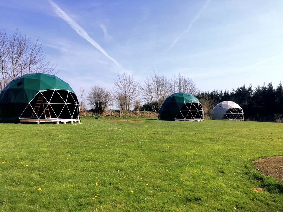 Top of the Woods Glamping Geodome nature domes in the meadow