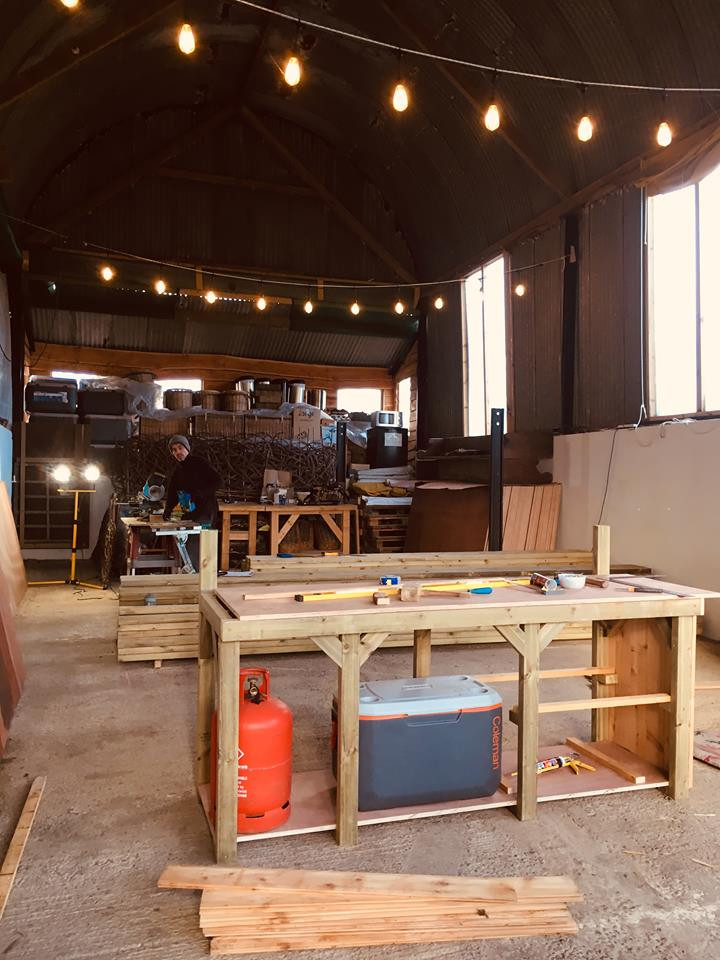 Handcrafting kitchen unit for Top of the Woods' glamping Nature domes
